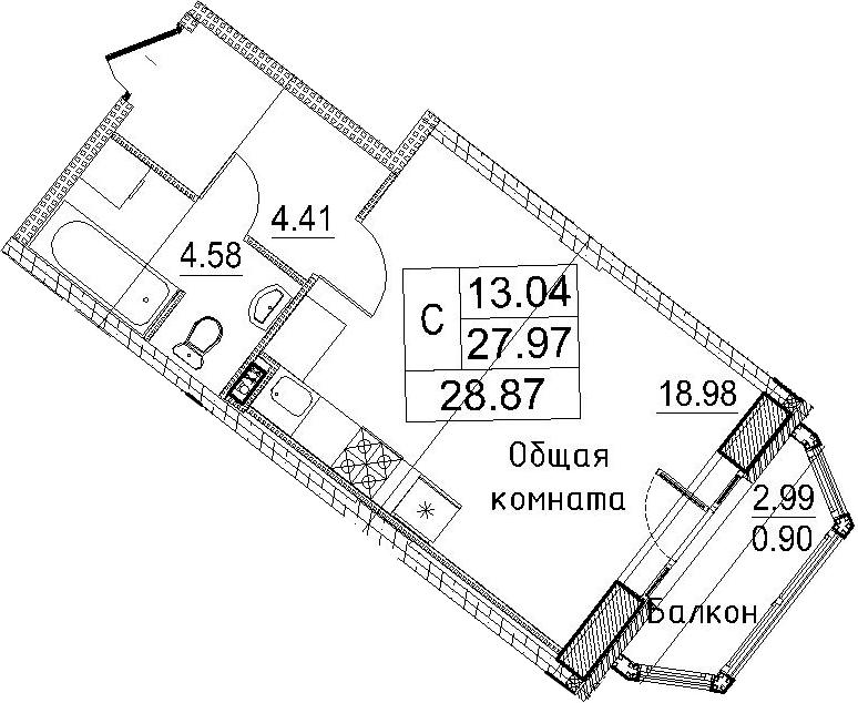 Студия, 30.97 м²