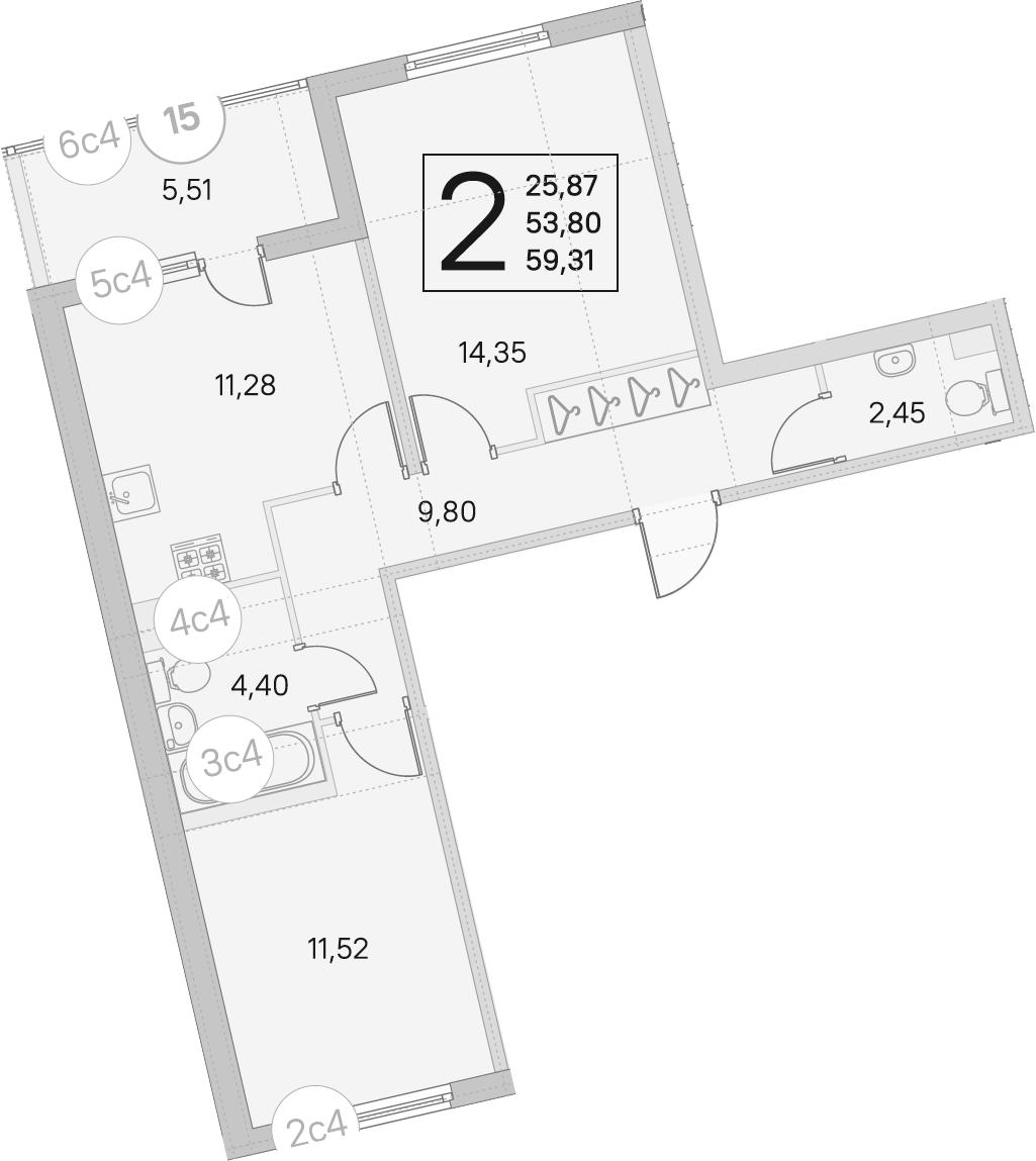 2-комнатная, 53.8 м²– 2