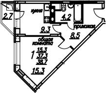 1-к.кв, 40.05 м²