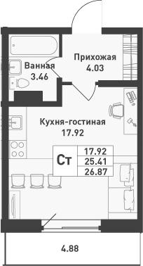 Студия, 26.87 м², от 2 этажа