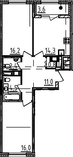 2-комнатная, 67 м²– 2