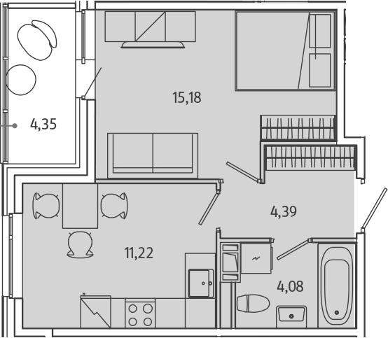 1-комнатная, 37.06 м²– 2