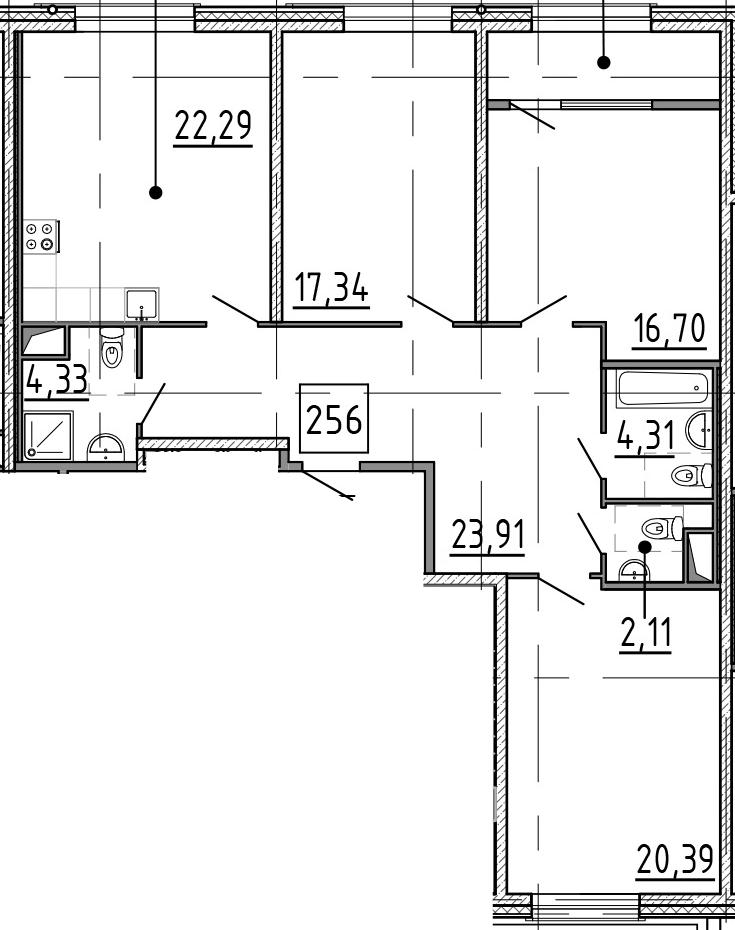 4Е-комнатная, 116.3 м²– 2