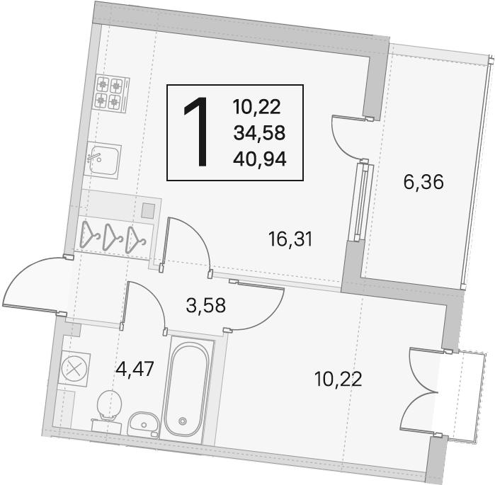 2Е-к.кв, 34.58 м²