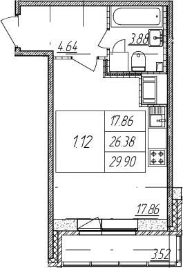 Студия, 26.38 м²– 2