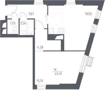 2Е-комнатная, 49.19 м²– 2
