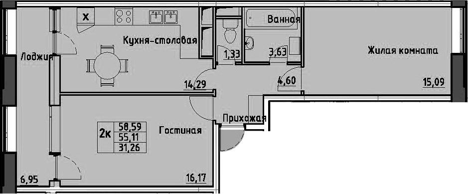 2-к.кв, 58.59 м²