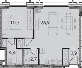 2Е-комнатная, 47.6 м²– 2