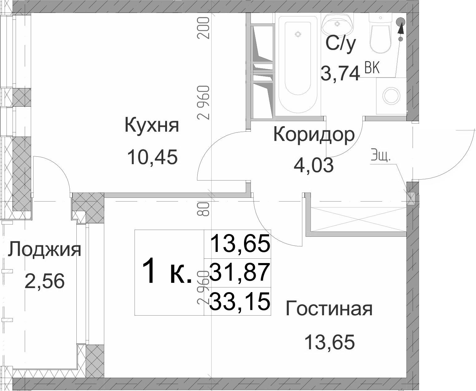 1-к.кв, 33.15 м²