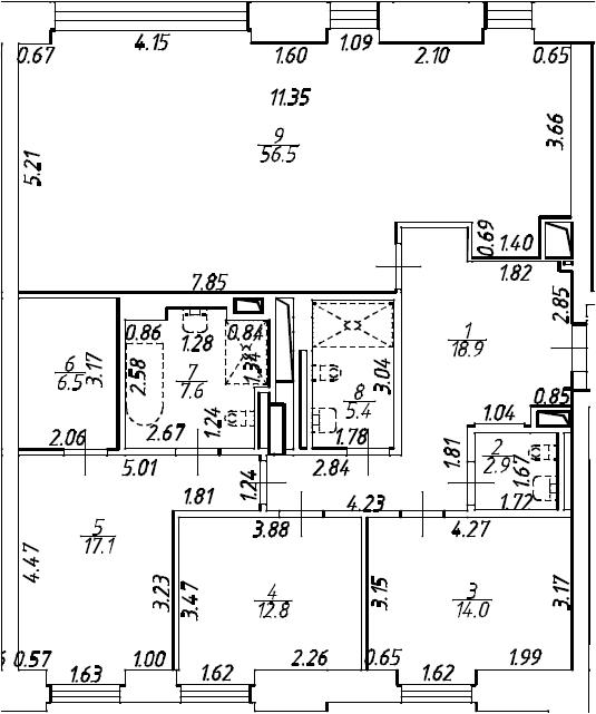4Е-комнатная квартира, 141.7 м², 2 этаж – Планировка