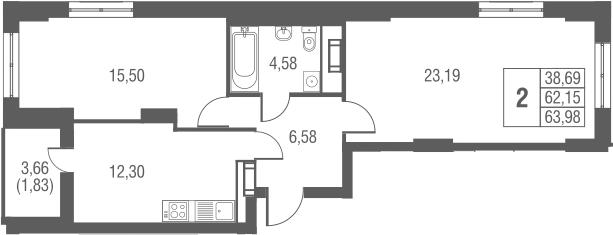 2-к.кв, 65.81 м²