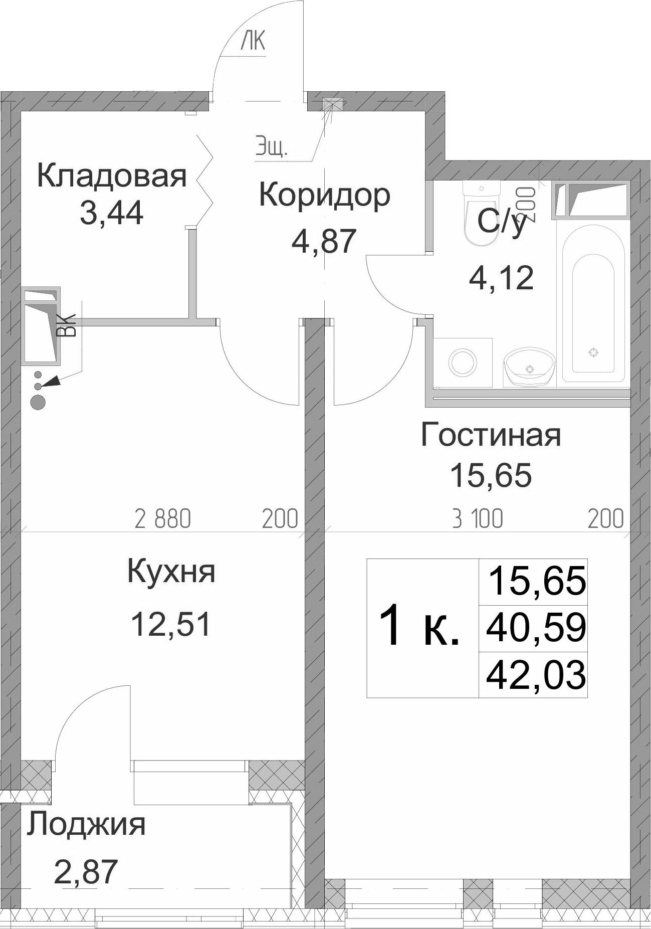 1-к.кв, 43.46 м²