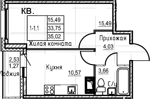 1-комнатная, 35.02 м²– 2