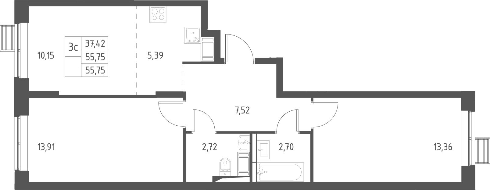 3Е-комнатная, 55.75 м²– 2
