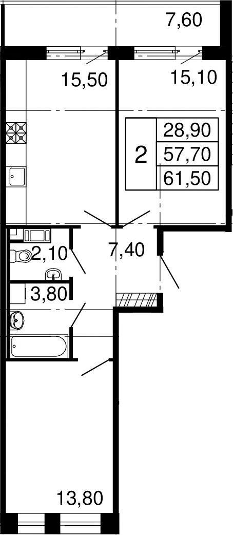 3Е-к.кв, 57.7 м², 10 этаж