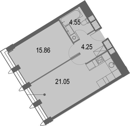 2Е-комнатная квартира, 45.71 м², 3 этаж – Планировка