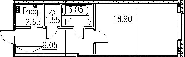 Студия, 35.2 м²
