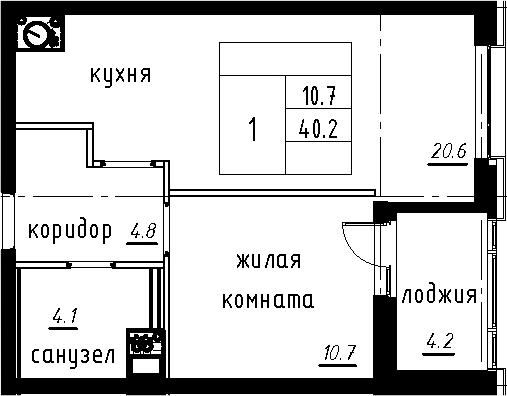 2-к.кв (евро), 44.4 м²