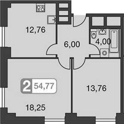 2-к.кв, 56.99 м²