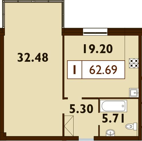 2Е-комнатная, 62.69 м²– 2