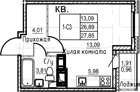 Студия, 27.85 м²– 2
