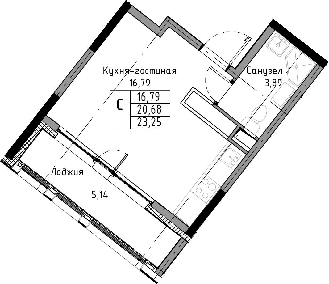 Студия, 23.25 м²– 2