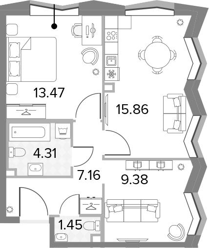 3-к.кв (евро), 51.63 м²