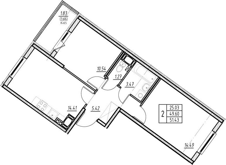 3-к.кв (евро), 53.26 м²