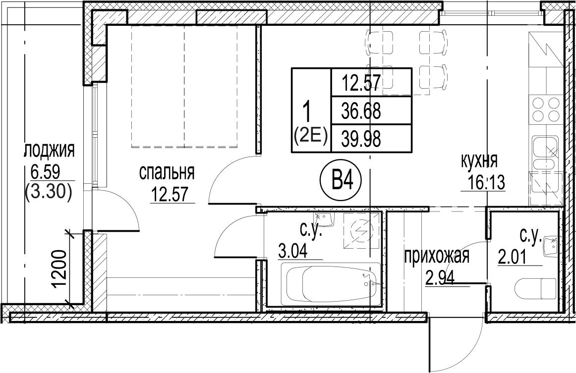 2-к.кв (евро), 43.27 м²