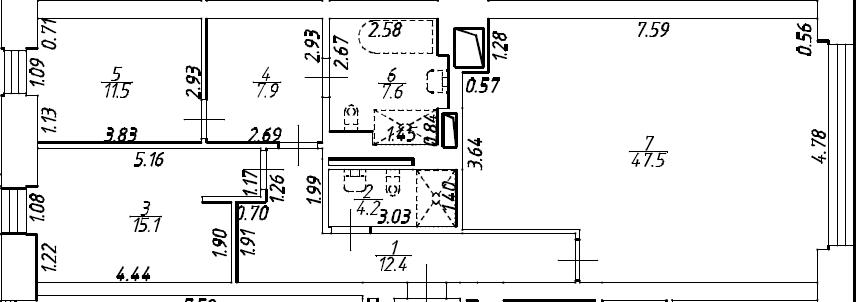 3Е-комнатная, 106.2 м²– 2
