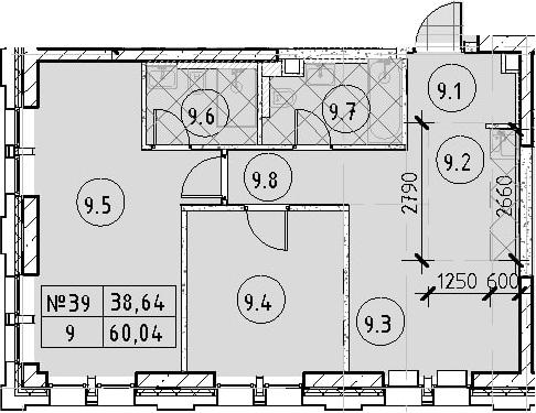 2-к.кв, 60.04 м²