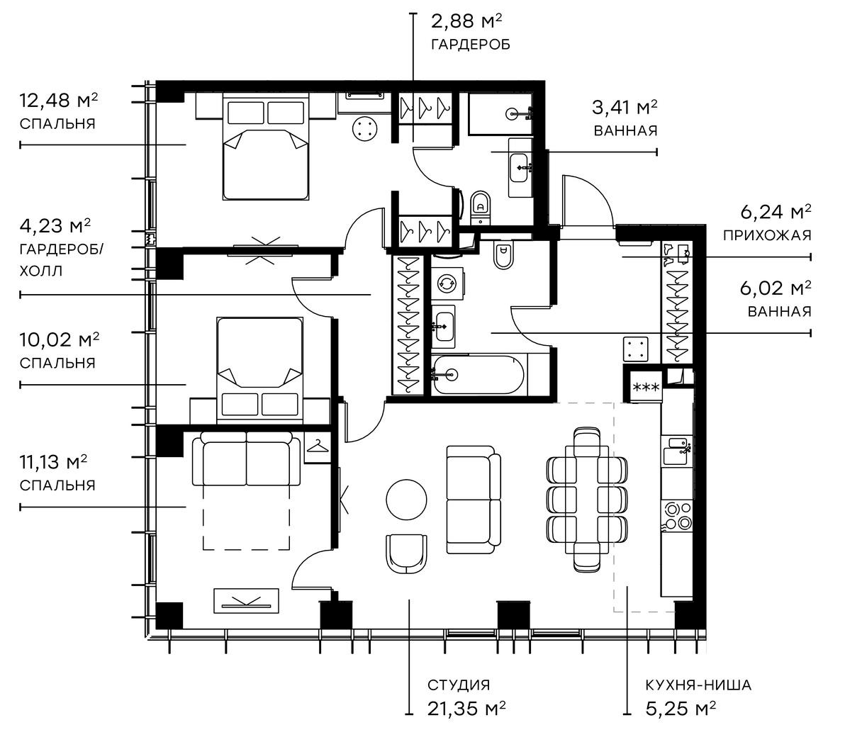 4Е-комнатная, 83.01 м²– 2