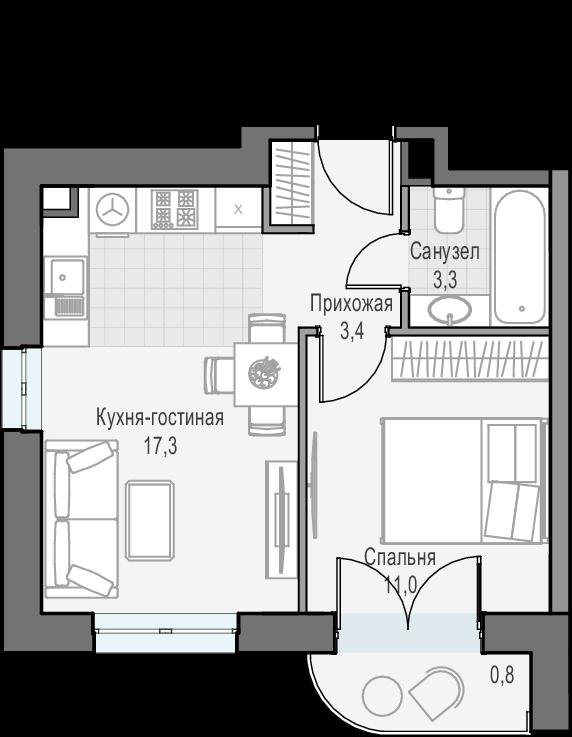 2Е-к.кв, 35.8 м², 15 этаж
