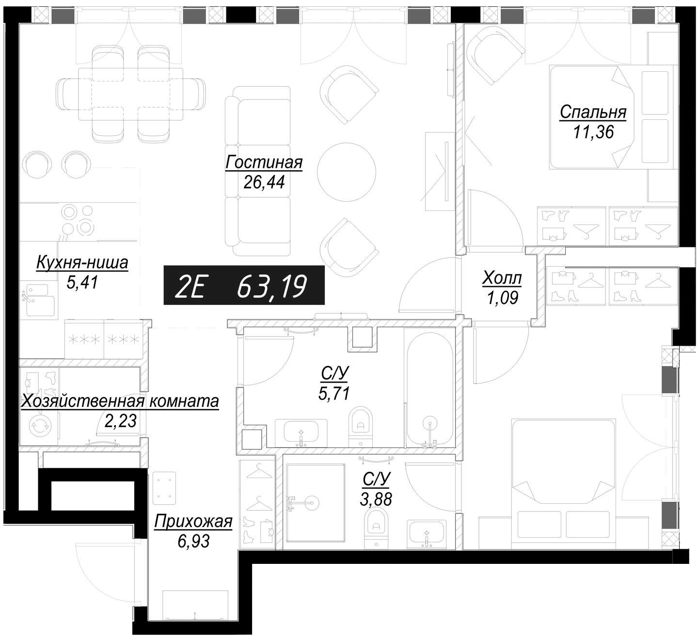 3Е-комнатная, 75.78 м²– 2