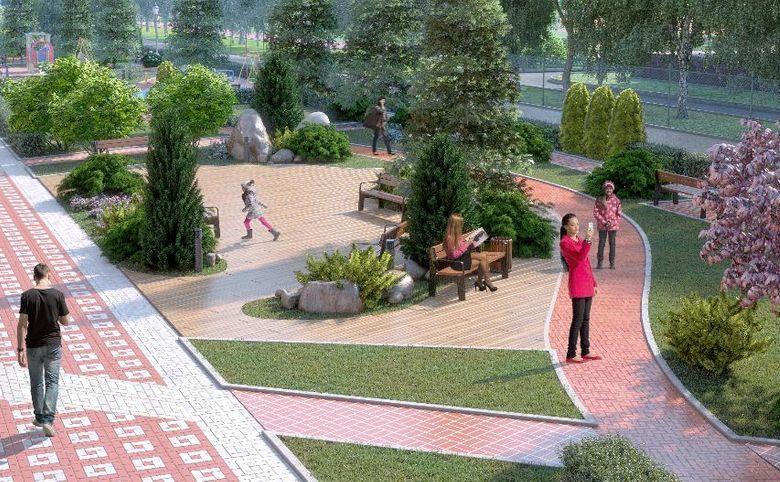 Прогулочный бульвар с фонтанами и скамейками