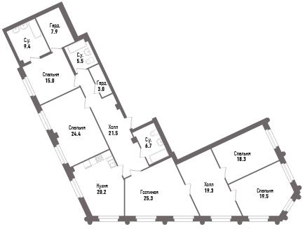 5-к.кв, 196 м²