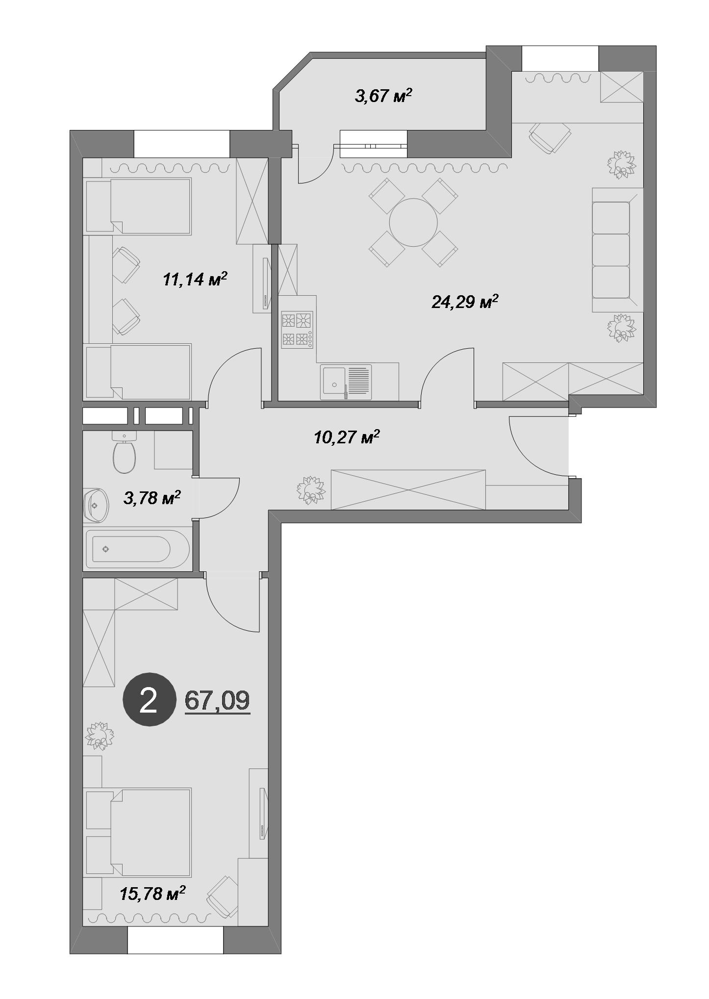 2-к.кв, 67.09 м², 1 этаж