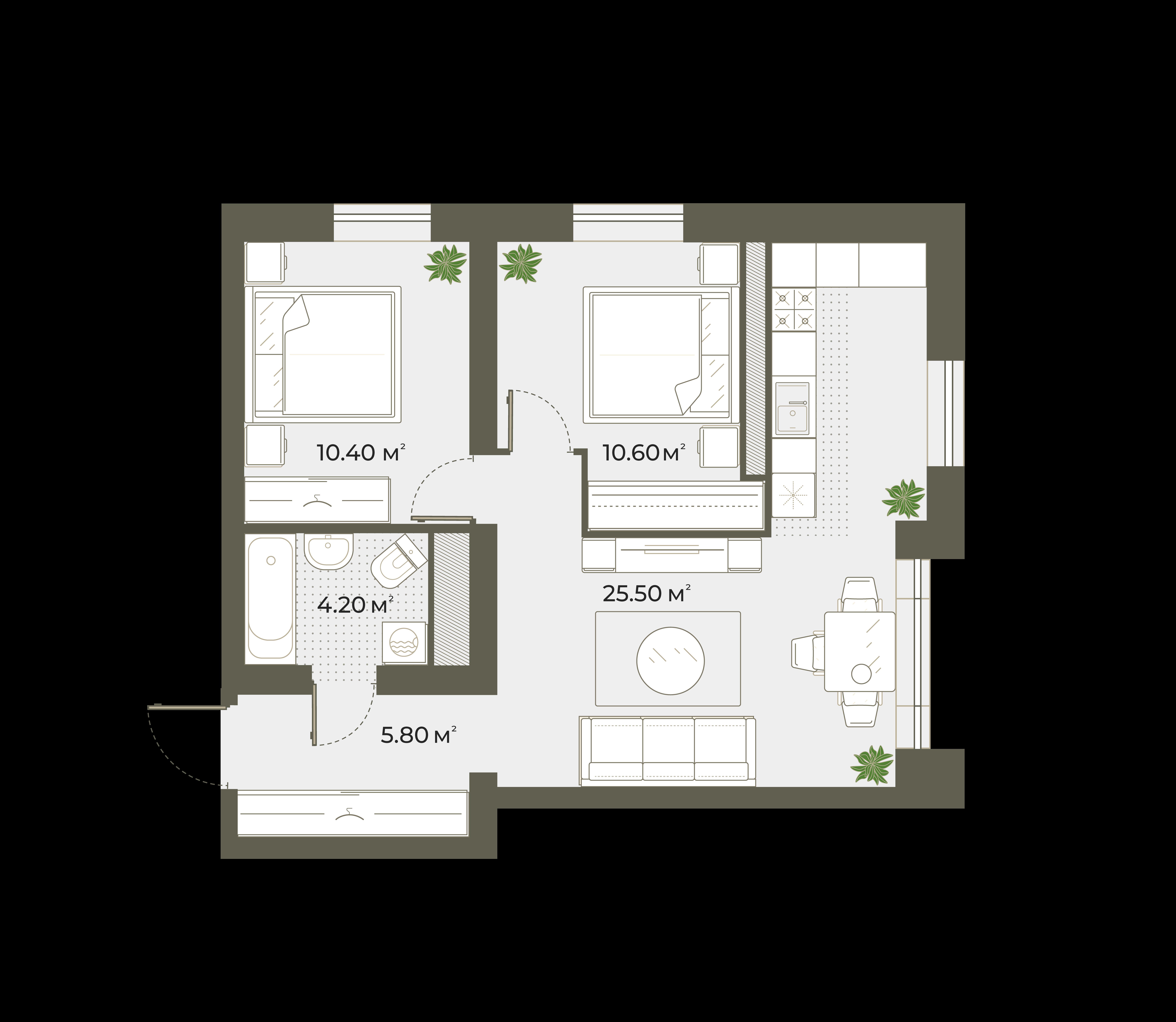 3Е-к.кв, 57.1 м², 3 этаж