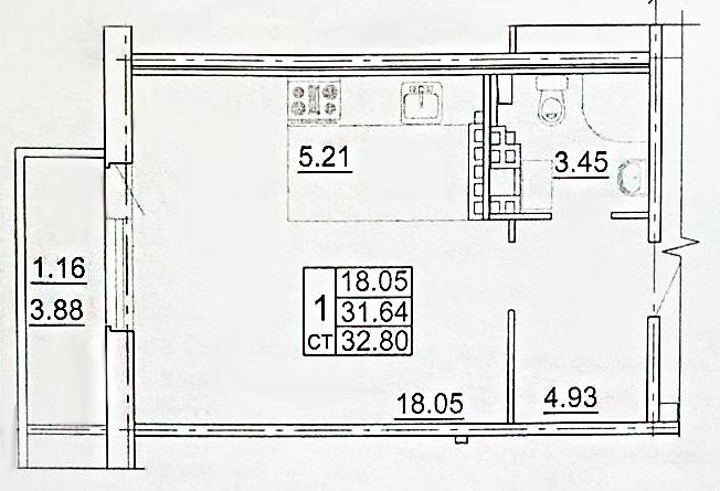 Студия, 35.52 м²