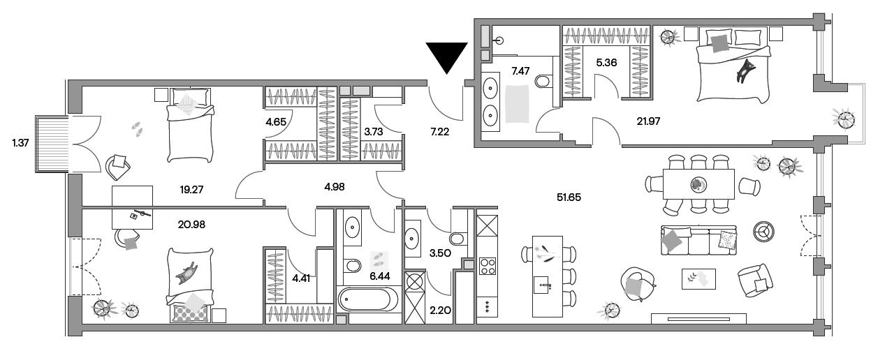 4-к.кв (евро), 164.11 м²