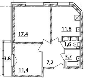 2-к.кв, 58.45 м²