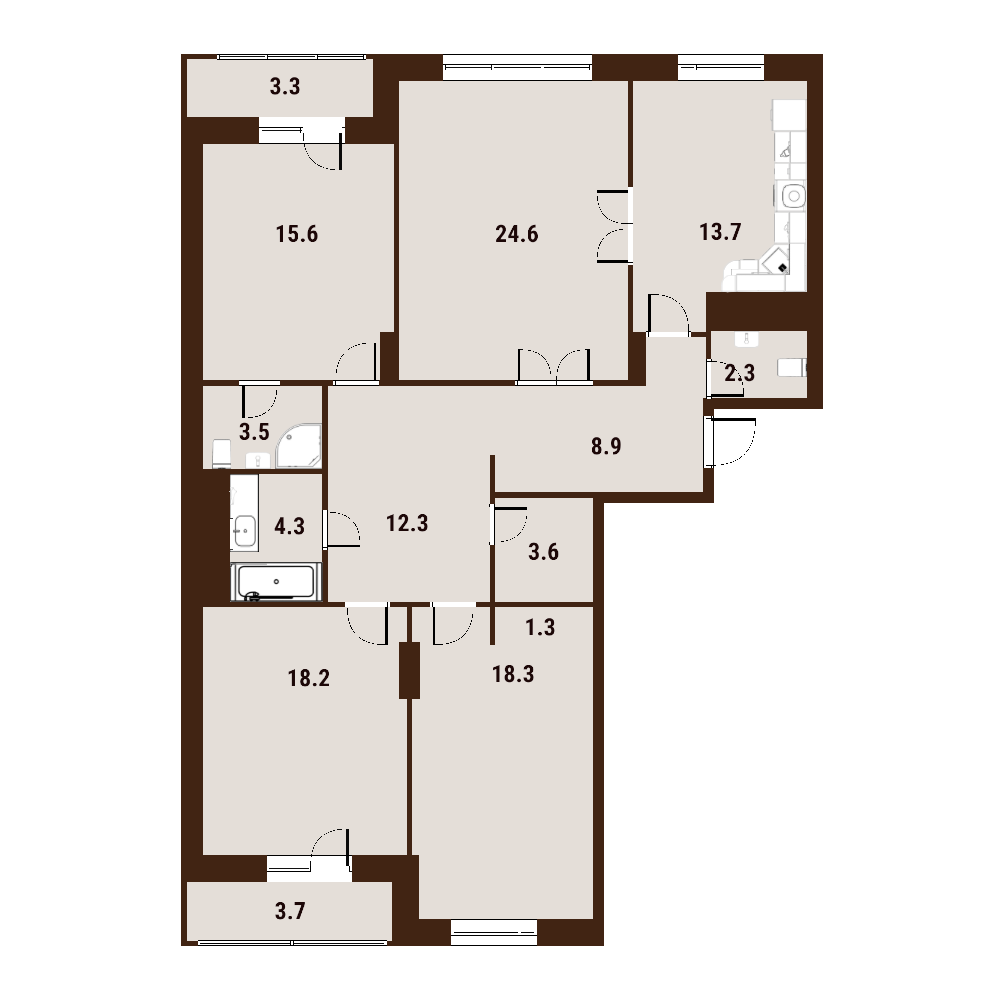 4-к.кв, 133.8 м²