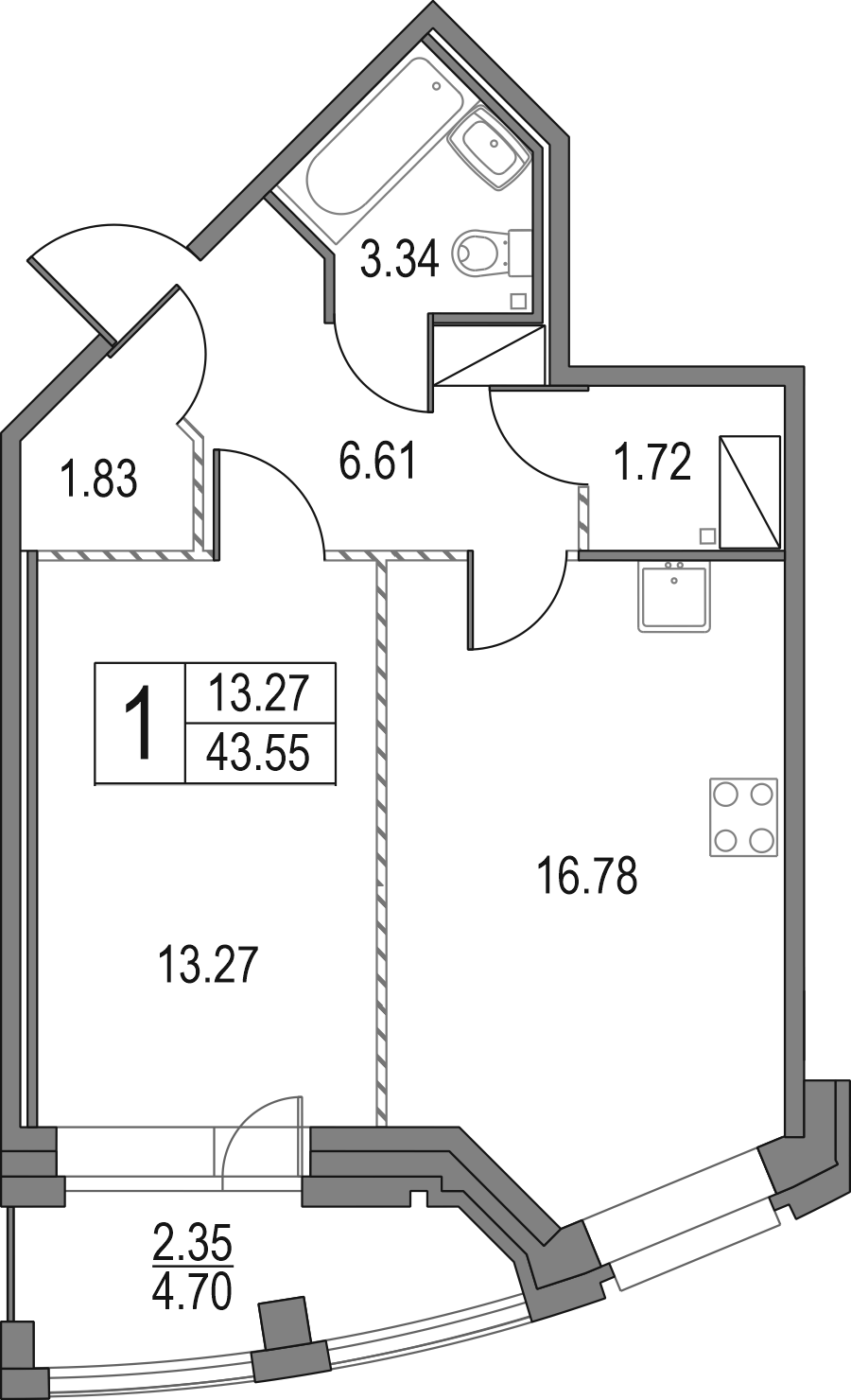 2Е-к.кв, 43.55 м², от 16 этажа