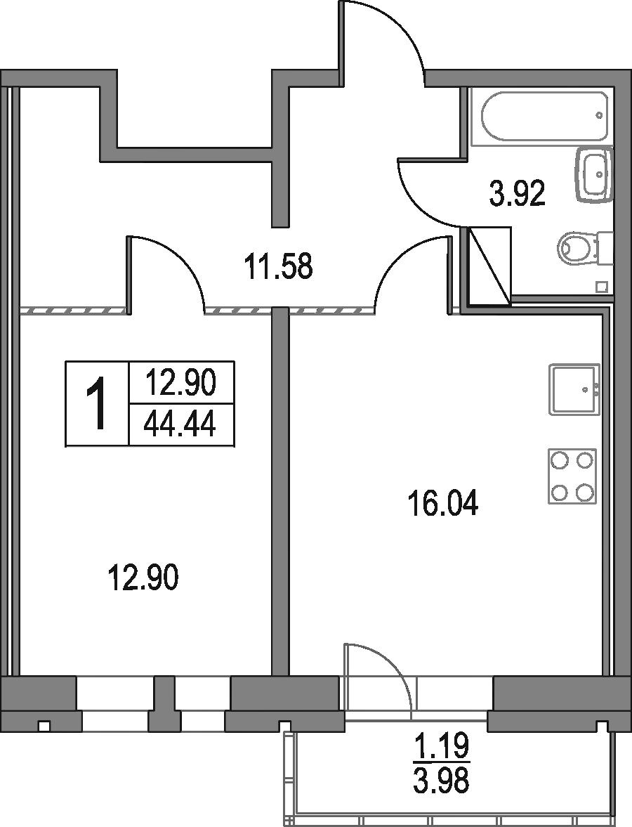 2Е-к.кв, 44.44 м², 13 этаж