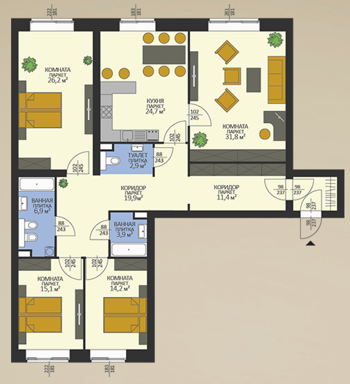 4-к.кв, 160.6 м²