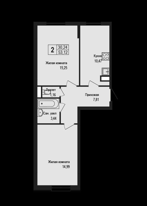 2-к.кв, 53.12 м²