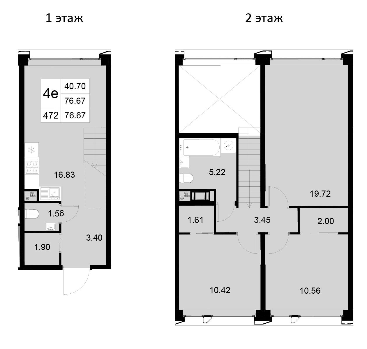 4Е-к.кв, 76.67 м²