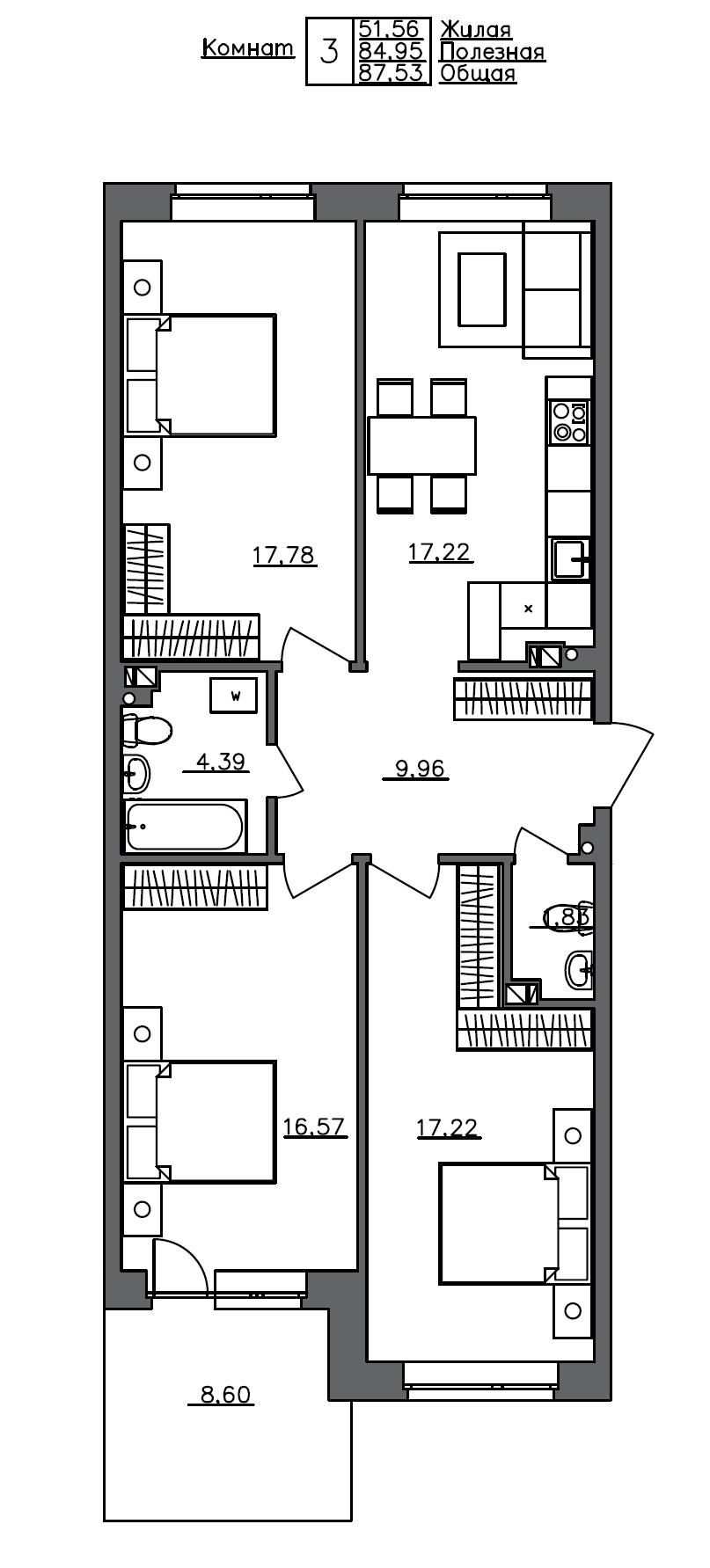 4Е-к.кв, 87.53 м²