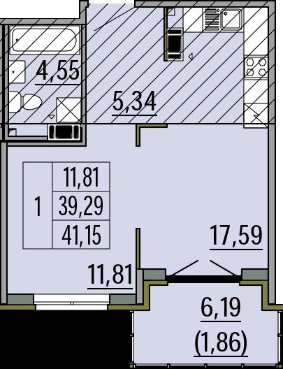 2Е-к.кв, 39.29 м², 4 этаж