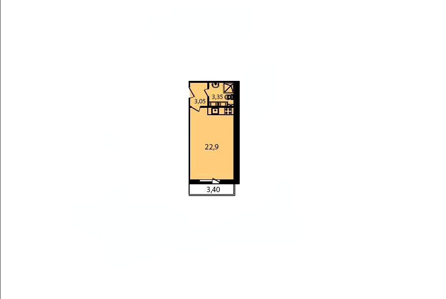 Студия, 29.3 м², 3 этаж – Планировка